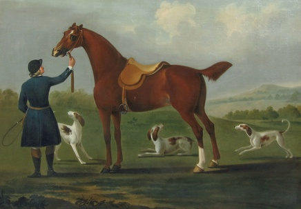 Richard Roper, A Huntsman and his Horse with Three Hounds in an Open Landscape