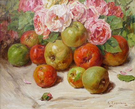 Georges Jeannin, Still life with apples and roses