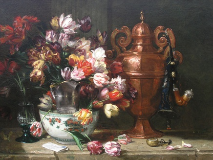 Philippe Rousseau, Tulips and assorted objects on a ledge