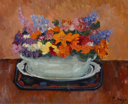 Paul Maze, Wild flowers in a green bowl