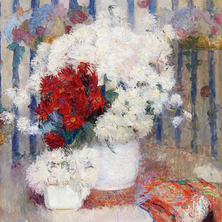 Ernest Jean Joseph Godfrinon - Still life of red and white flowers