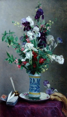 Mixed flowers in a blue vase