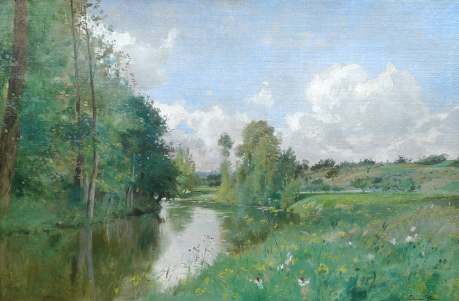 River landscape with yellow flowers