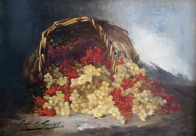 Still Life of Red and White Currants in Basket