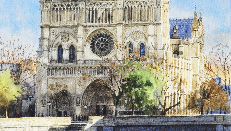 Jonathan Pike  Notre Dame, Paris  Signed and dated